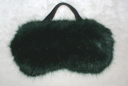 Hunter Green Faux Fur Eye Mask