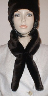 Chocolate Moleskin Faux Fur Slim Collar/Headband