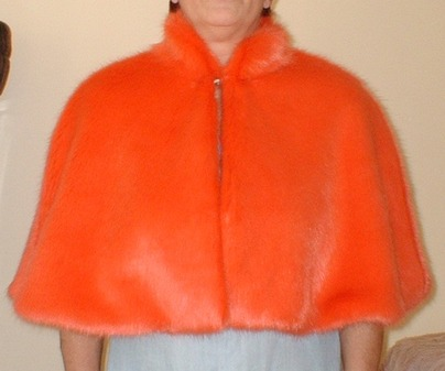 Coral Faux Fur Cape