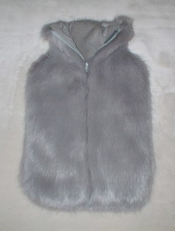 Silver Mink Faux Fur Hot Water Bottle Cover