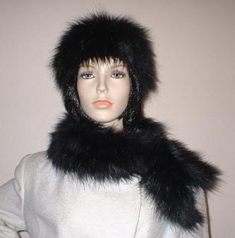 Black Bear Faux Fur Slim Collar/Headband