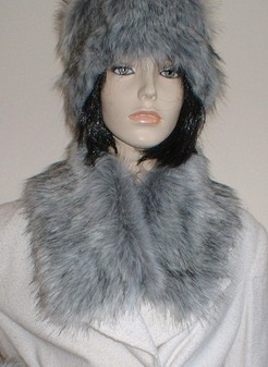 Silver Musquash Faux Fur Long Collar