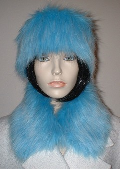 Sky Blue Faux Fur Collar