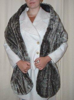Vintage Silver Astra Faux Fur Slim Stole