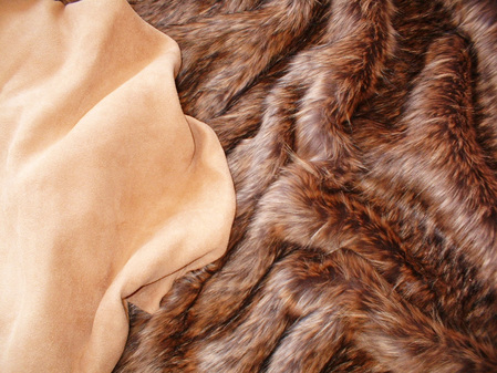 Tan Faux Suede Fabric per meter