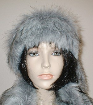 Silver Musquash Faux Fur Slim Collar/ Headband