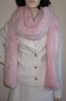 Raspberry Cream Faux Fur Super Long Scarf