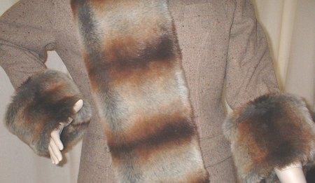 Golden Brown Chinchilla Faux Fur Cuffs (Pair)