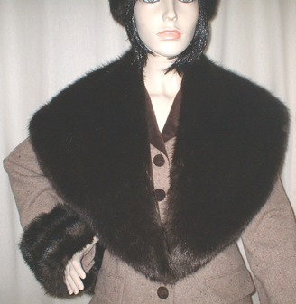 Mahogany Mink Faux Fur Shawl Collar