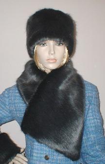 Charcoal Mink Faux Fur Asymmetric Scarf