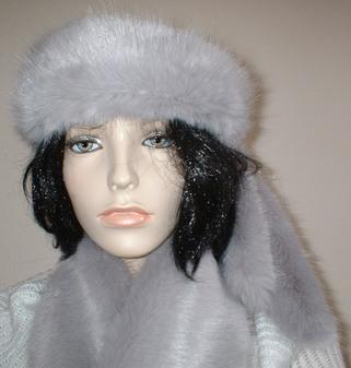 Silver Mink Faux Fur Slim Collar/ Headband