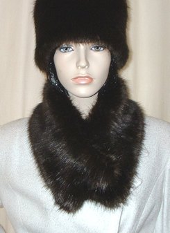Mahogany Mink Faux Long Collar