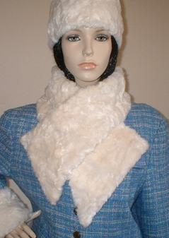 Ivory Astra Faux Fur Vintage Asymmetric Scarf
