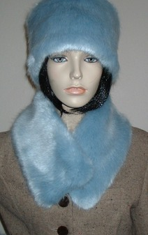 Powder Blue Faux Fur Long Collar
