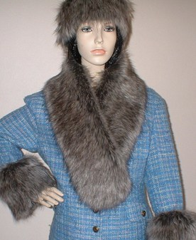 Timber Wolf Faux Fur Neck Scarf