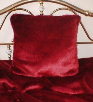 Ruby Red Faux Fur Cushion 61 x 61 cm 24 x 24 inch