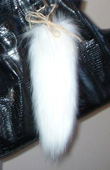 Polar Bear Faux Fur Tail Handbag Key Charm