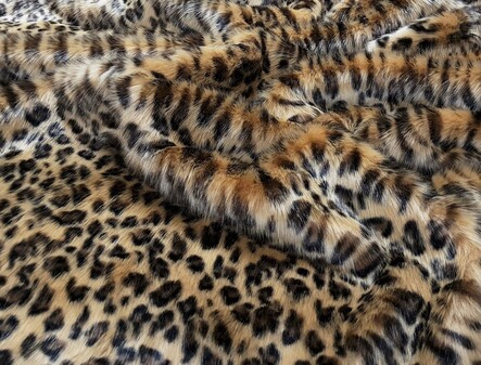Gold Leopard Faux Fur Fabric Per Meter