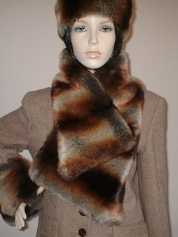 Golden Brown Chinchilla Faux Fur Asymmetric Scarf