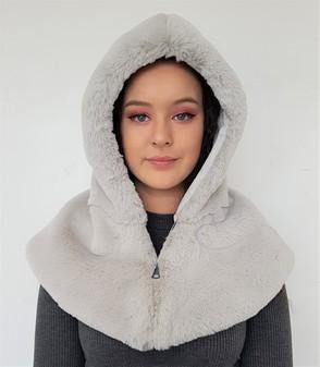 Silver Softee Faux Fur Zipped Hood