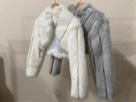 SALE Faux Fur Long Sleeve Bolero Cropped Jackets