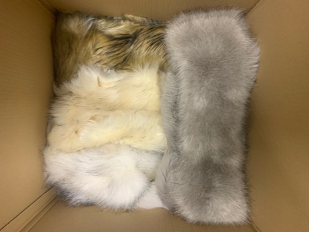 Box of Faux Fur Pieces: TISSAVEL