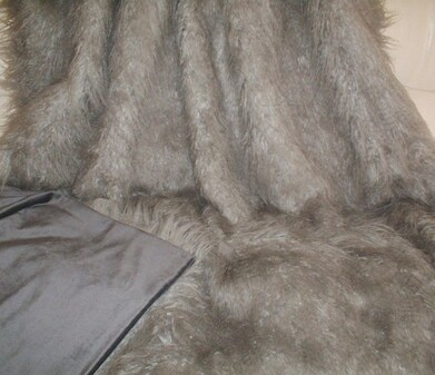 SALE Mongolian Grey Faux Fur Throw with Graphite Cuddle Soft Velboa