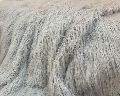 Mongolian Silver Faux Fur Swatch