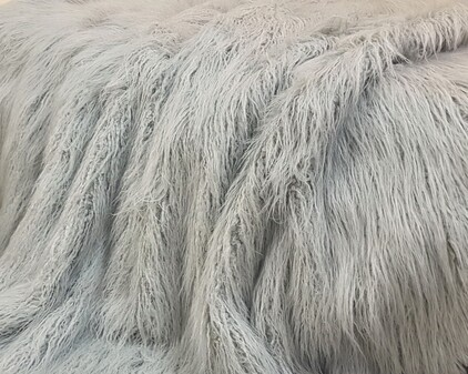 Mongolian Silver Faux Fur Fabric Per Meter