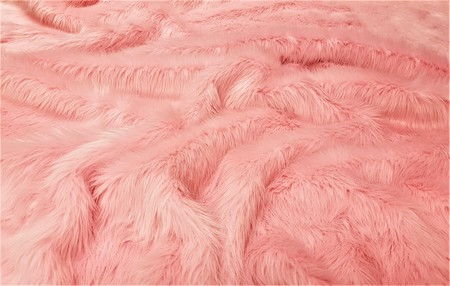 Pink Polar Bear Faux Fur Fabric Per Meter