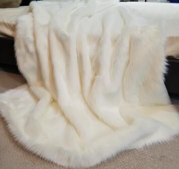 SALE Polar Bear Faux Fur Throw with Faux White Suede