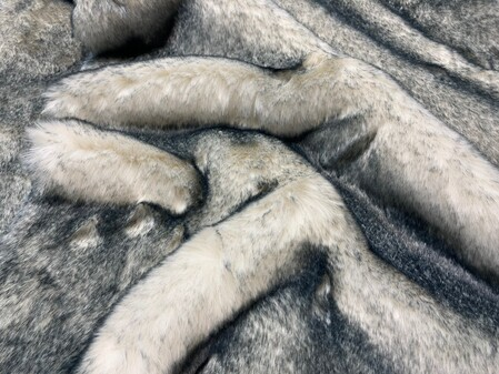 SALE Black Tip Polar Fox Throw with Graphite Velboa