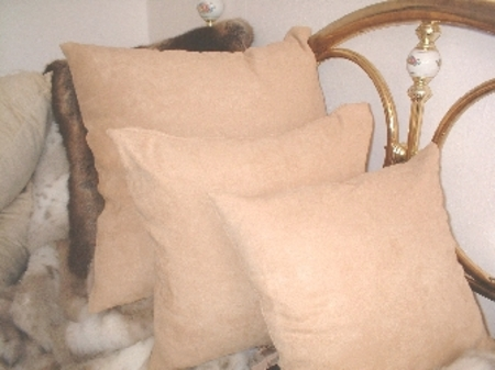 Tan Faux Suede Cushions
