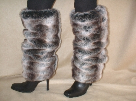 Chinchilla Faux Fur Leg Warmers