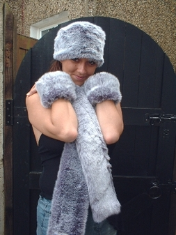 Silver Lavender Fox Faux Fur Hat
