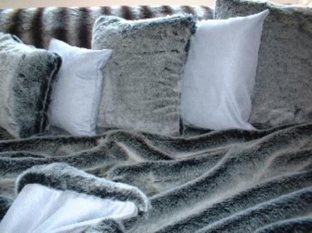 Arctic Wolf Faux Fur Cushion 16 x 16 inches