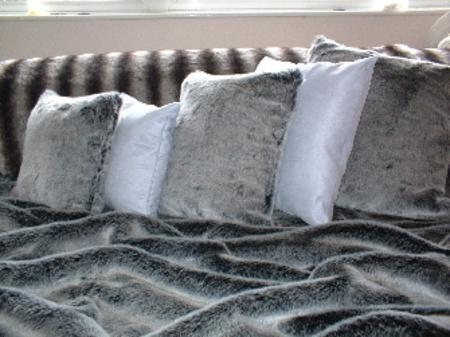 Arctic Wolf Faux Fur Cushion 24 x 24 inches