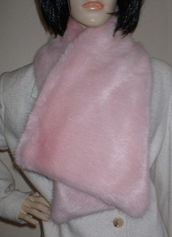 Raspberry Cream Faux Fur Asymmetric Scarf