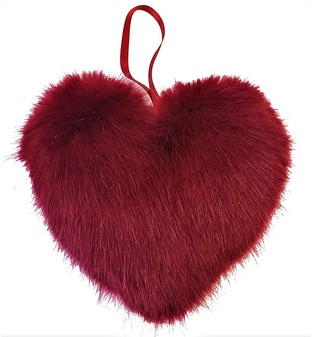 Ruby Red Faux Fur Hanging Heart