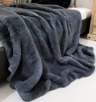 SALE Slate Grey Faux Fur Throw with Velboa