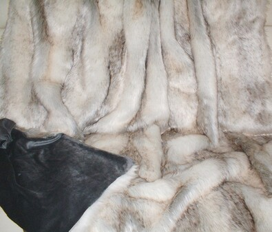 SALE Snow Wolf Faux Fur Throw with Cuddle Soft Graphite Velboa