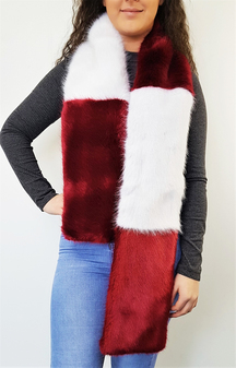 Ruby and White Faux Fur Team Scarf