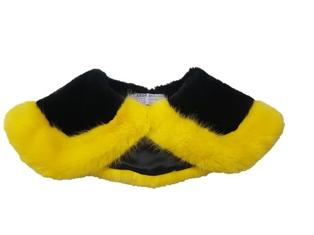 Sunshine Yellow Mink and Black Moleskin Faux Fur Two Tone Sailor Collar