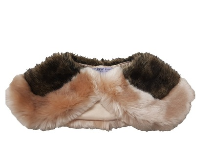 Tissavel Blush and Brown Bear Faux Fur Two Tone Sailor Collar