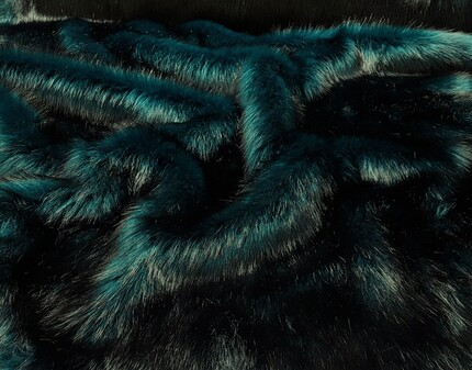 Tissavel Teal Faux Fur Fabric SECONDS per meter