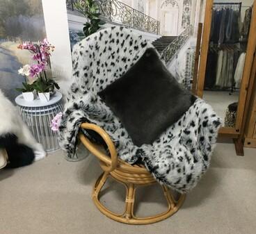 SALE Tissavel Winter Leopard Throw with Black Moleskin Faux Fur