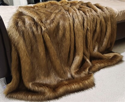 SALE Umber Faux Fur Throws with Chocolate Velboa