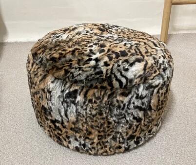 SALE Faux Fur Round Pouffes