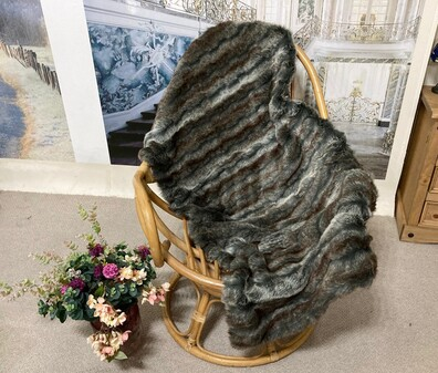 SALE Wolverine Faux Fur Throw with Graphite Velboa