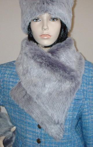 Silver Lavender Fox Faux Fur Vintage Asymmetric Scarf